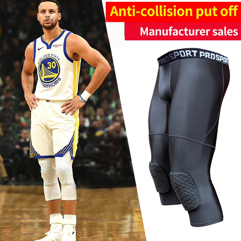 Men S Basketball Padded Tights Pants With Knee Pads For Men 3 4 Compression Tights Leggings Girdle Training Running Tights Aliexpress