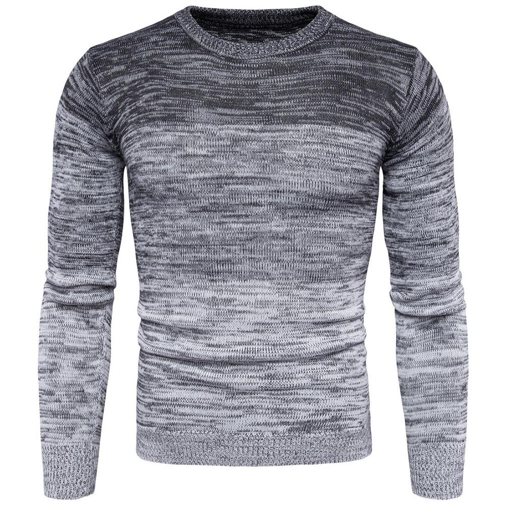 Autumn Winter Men Gradient Long Sleeve Round Neck Sweater Casual Knitted Top Mens Sweaters Pullovers Pullover Men Pull Homme