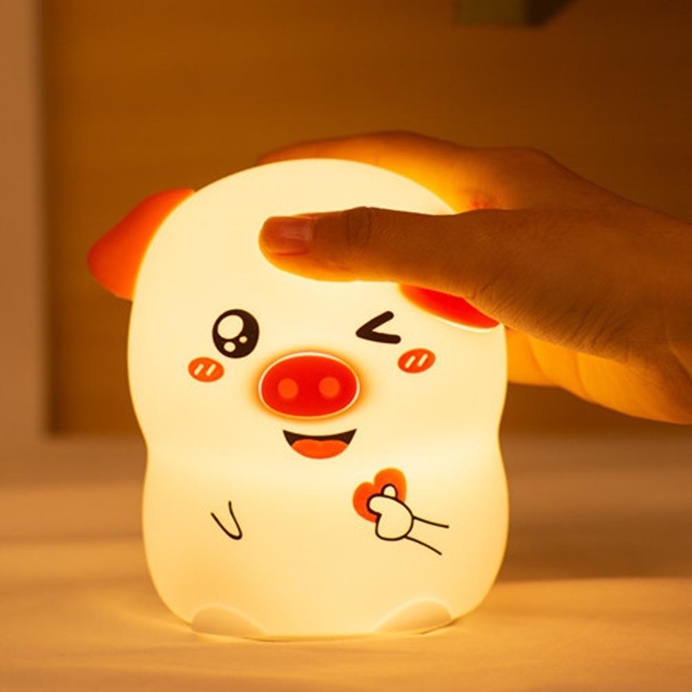 Мультфильм ночник светодиодный светильник форма свиньи ребенок мягкий из силикона, в подарок спальня 7 цветов Изменение прикроватный usb