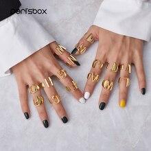 Peri'sBox Новое алфавитное БУКВЕННОЕ несколько колец широкое массивное необычное Золотое кольцо регулируемое первоначальное модное кольцо унисекс