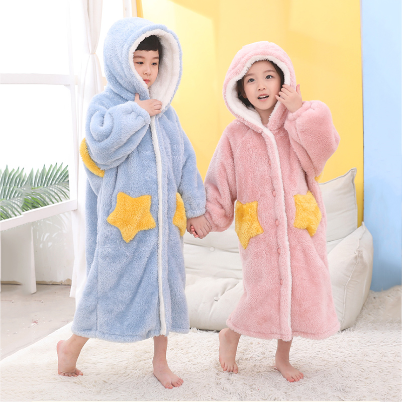 Kids Bathrobe Nightgown Girl Boy Winter Sleepwear Bath Shower Homewear Pajamas