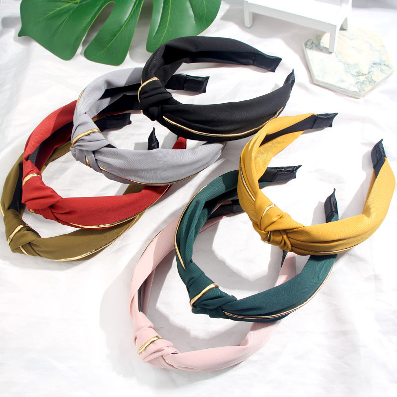 Flatfoosie Solid Color Knot Golden Rim Hairband Headband Turban For Women Wide Plastic Hair Hoop Bezel Hair Bands Accessories