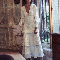 Ordifree 2020 Summer Women Long Party Dress Long Sleeve White Lace Embroidery Luxury Maxi Tunic Beach Dress