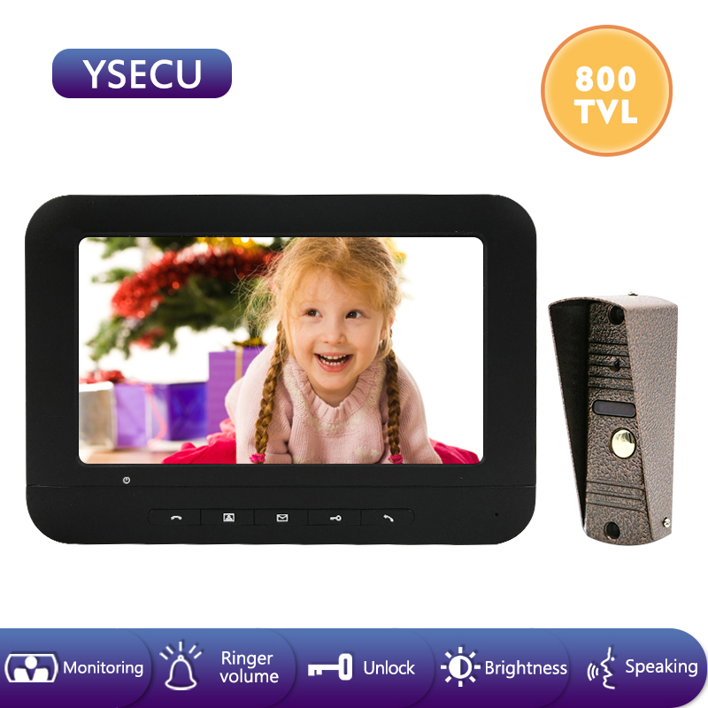 YSECU 7 Inch 800TVL Wired Video Door Phone Visual Video Intercom Doorbell With Camera Night Vision IP65