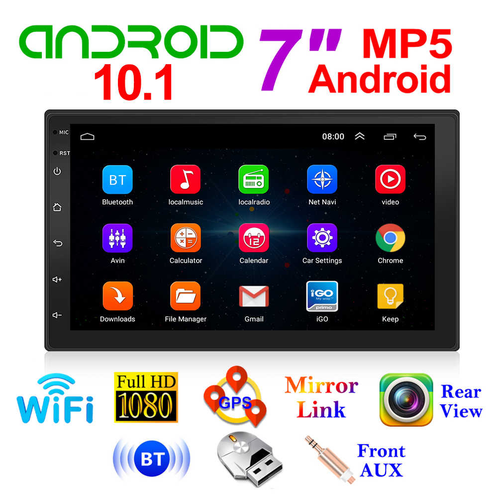 9210S 7 Inch Hd 2 Din Android 10.1 Auto Stereo Bluetooth Wifi Gps Fm Radio Ontvanger Hoofd Unit Achter view Voor Telefoon Android Ios