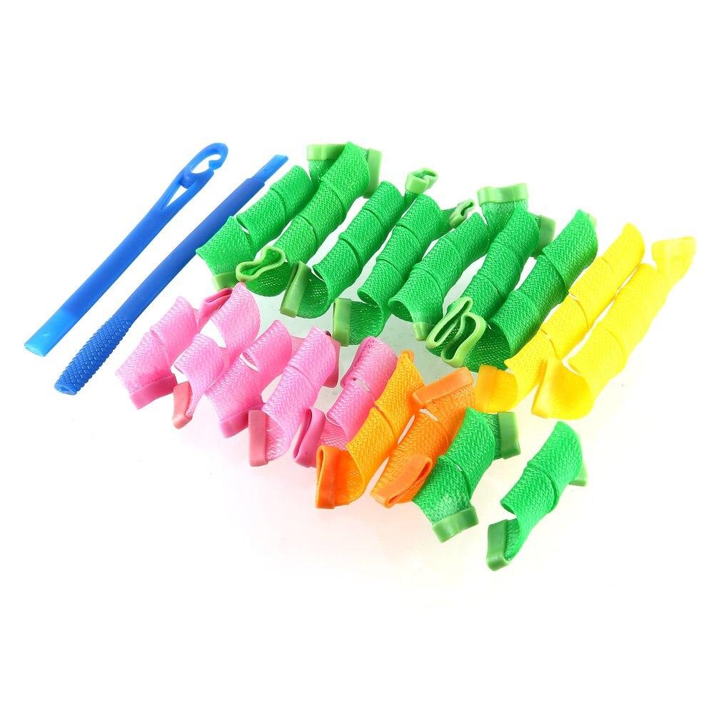 18Pcs Plastic Magic Hair Curler Rollers+2pcs Pear Head Hooks Kit For Wet Dry Hair DIY Wave Curler Hair Styling Hair Beauty Tools