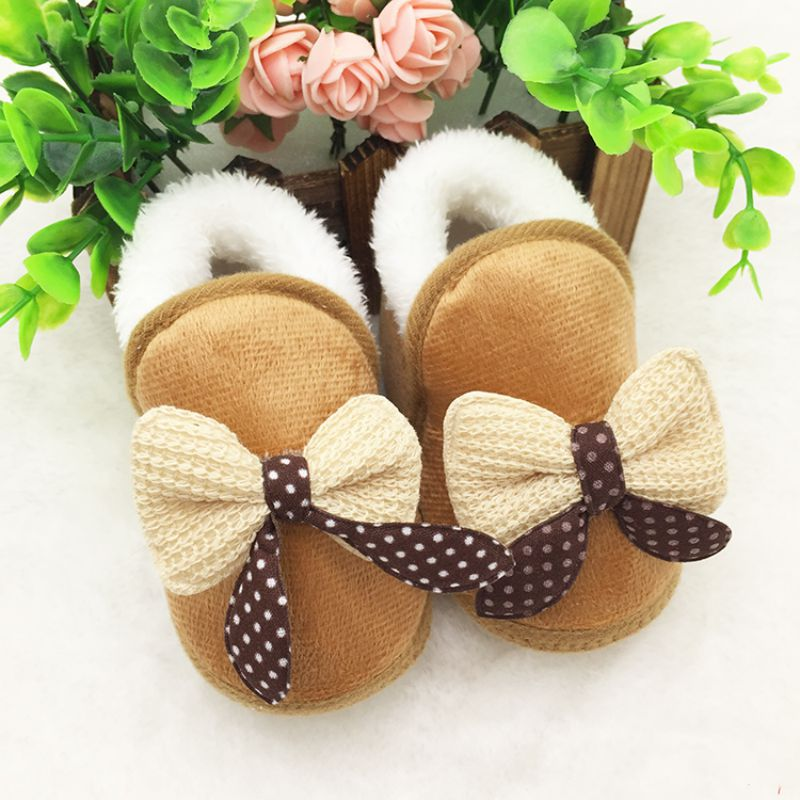 Baby Girls Winter Botties Toddler First Walker Warm Winter Boots Soft Sole Snow Shoes With Bows