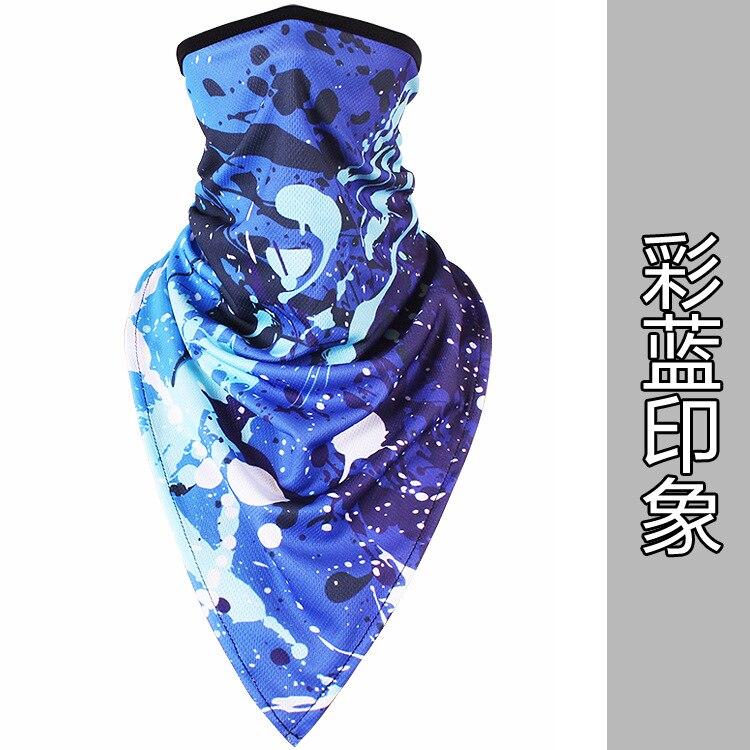 Новое ледяное шелковое треугольное полотенце крутой дышащий платок на голову воротник Мужская и женская маска от Солнца маска ошейник - Цвет: Colorful blue impres