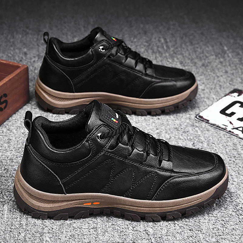 Men Casual Shoes Winter Spring Leather Shoes Sneaker Thick Buttom Wear-resistant Shoe British Style Men's Fashion Sneakers Shoes