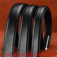 3sizes Mens Solid Leather Belts High Quality Genuine Cow Leather Belt Man With free send Buckle Automatic and Exquisite gift box