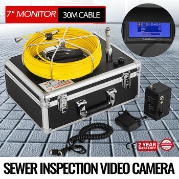 Sewer Inspection Video Camera 30M 98FT 7 LCD Drain Pipe Line Inspection DVR LCD syanspan 9 wifi pipe inspection video camera drain sewer pipeline industrial endoscope support android ios 360 rotation 20 100m