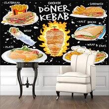 Custom 3D American Fast Food Mural Wallpaper Chicken Doner Kebab Snack Bar Restaurant Industrial Dec
