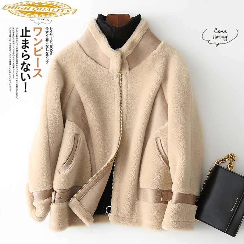 Autumn Winter Coat Women Clothes 2020 Real Fur Coat Shearing Wool Fur Jacket Korean Overcoat Abrigo Mujer 7658 KJ2582