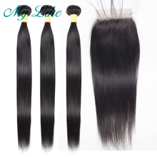 My Like Peruvian Hair Bundles with Closure Straight Non-remy Human Weave 3