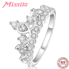 цена на MISSITA 100% 925 Sterling Silver Classic Crown Rings For Women with Clear Crystal Gift Brand Jewelry Engagement anillos mujer