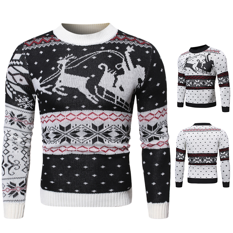 Winter Christmas Sweater Men Roundneck Casual Sweaters Santa Claus Knitted Pullover Jumper Jersey Slim Male Clothes Pull Homme
