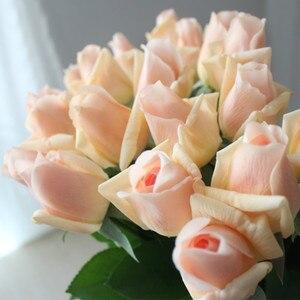 Image 4 - 7 Uds. De rosas de látex con toque Real, tallo de Rama, rosa, decoración de imitación de fieltro, rosas artificiales de silicona, flores para el hogar y la boda