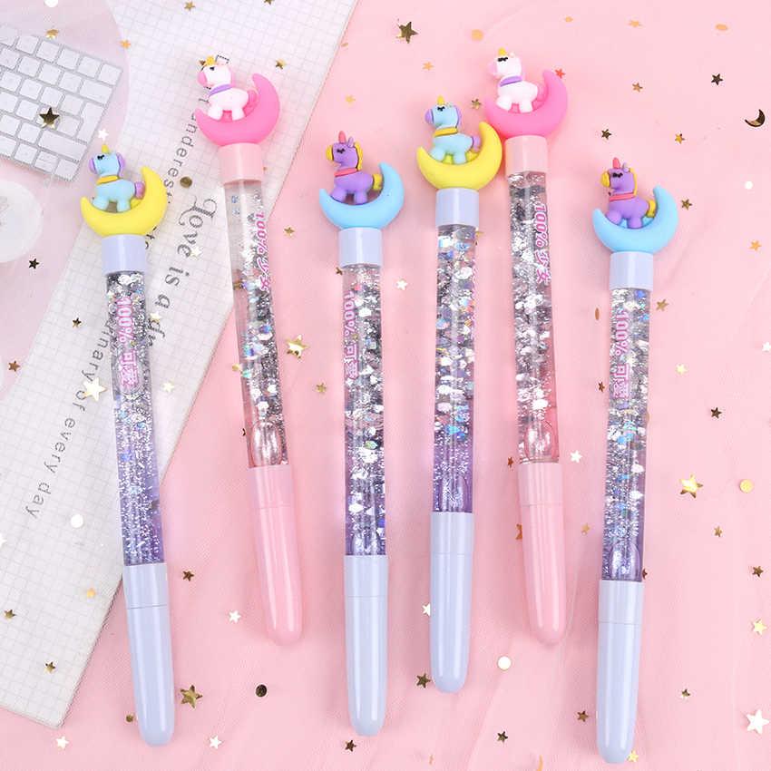 1PC Cartoon Unicorn ירח ג 'ל עט שחור דיו Writting עטי חידוש ניטראלי חול טובעני עט כתיבה ילדה מתנת משרד בית הספר אספקת