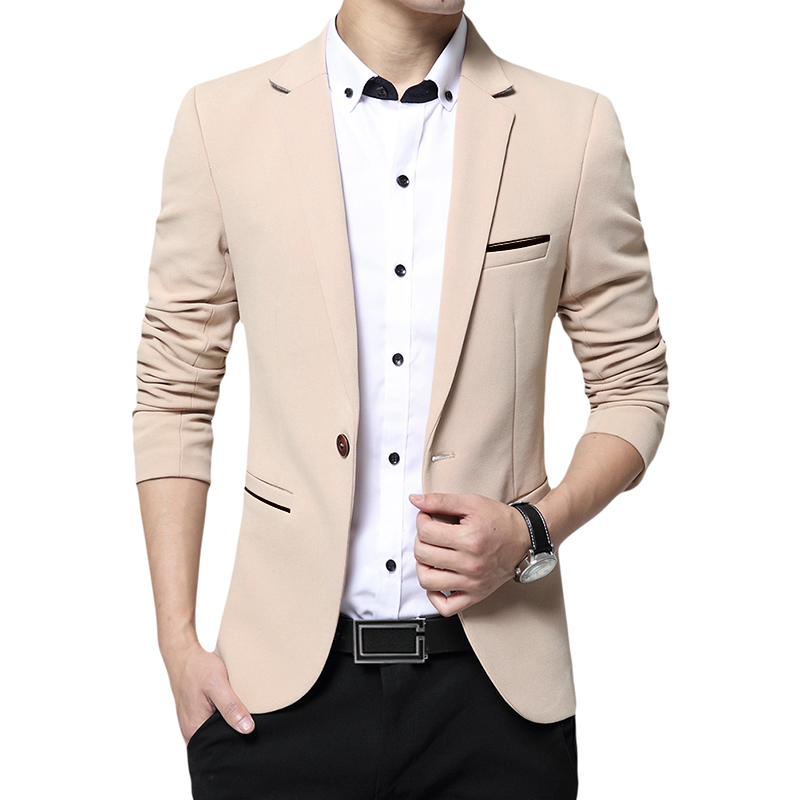 YUNCLOS  New One Button Blazer For Men Casual Slim Fit Jackets High Quality Solid Color Business Men Blazer Jackets