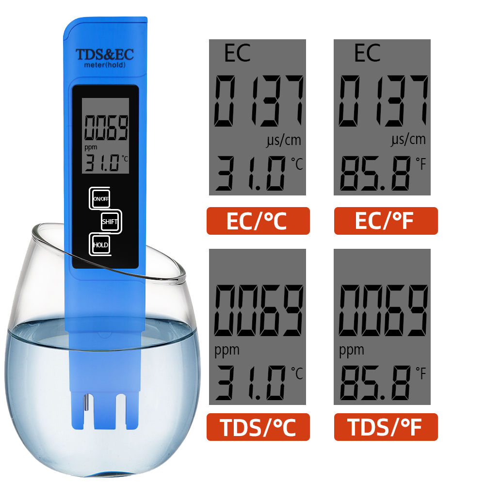 Nouveau TDS EC Meter Temperature Tester pen 3 In1 Function Conductivity Water Quality Measurement Tool TDS & EC Tester 0-9990ppm 15%