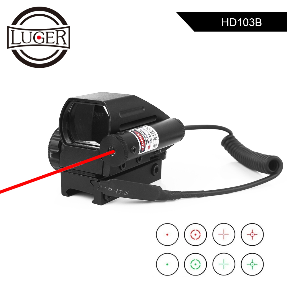 LUGER Tactical Reflex Red Green Laser 4 Reticle Holographic Projected Dot Sight Scope 11/20mm Rail Mount For Airgun Hunting