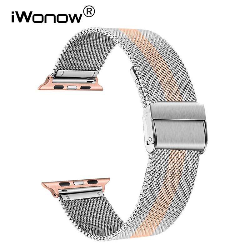 Milanese Loop Stainless Steel Watchband for Apple Watch iWatch Series 5 4 3 2 1 44mm 40mm 42mm 38mm Band Mesh Strap Bracelet image