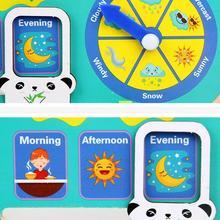 Alarm-Clock Weather-Calendar Puzzle School-Toy Wood Early-Learning Child Kindergarten