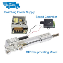 Fast Shipping DIY DC 12V 24V Linear Actuator Reciprocating Electric Motor +Switching Power Supply 110V-240V+PWM Speed Controller ac100 240v input and 12 24v dc ouput wireless type linear actuator controller power supply for doubles linear actuators