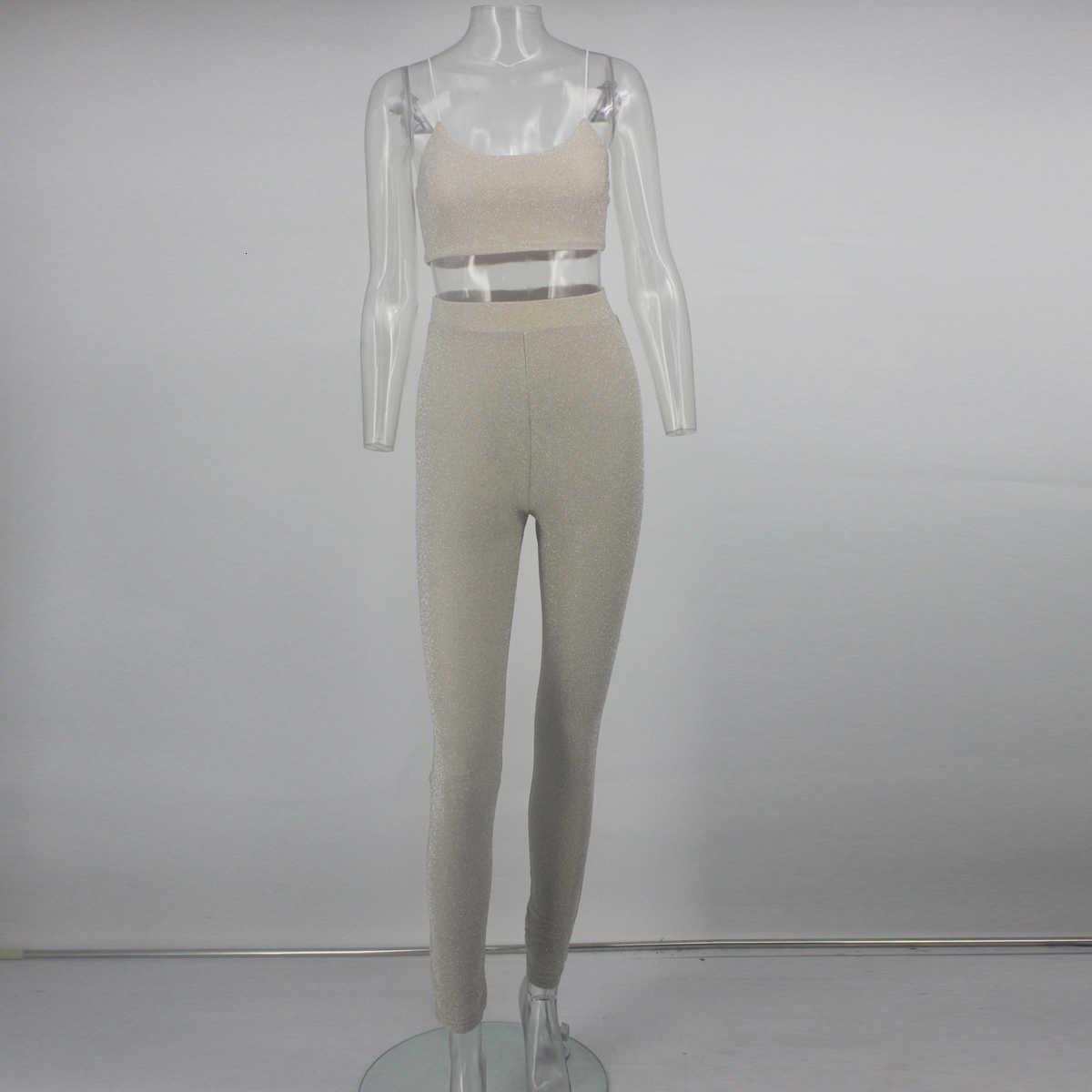 Nattemaid Sexy Glitter Zomer Twee Stukken Set Mouwloze Top En Lonbg Broek Vrouwen Set Vrouwelijke 2 Delige Set Vrouwen Elegante outfit
