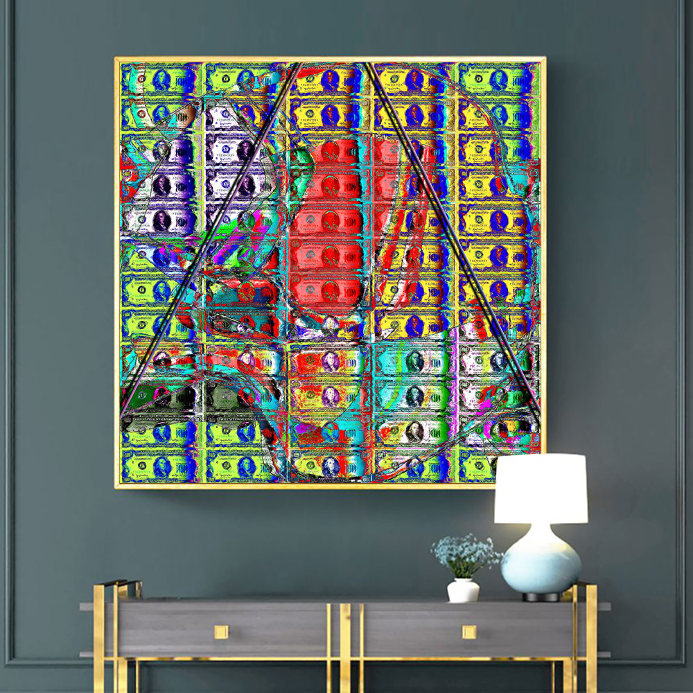 Colourful Dollars Art Canvas Painting Posters And Prints Abstract Watercolour Money Wall Art Picture For Living Room Decoration
