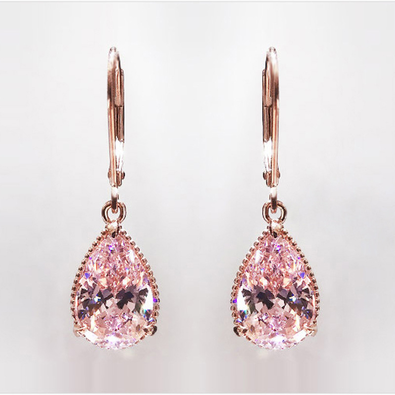 14K Rose Gold Pink Diamond Earring For Women Fashion Pink Topaz Gemstone Bizuteria 14K Gold Garnet Drop Earring Orecchini Girls
