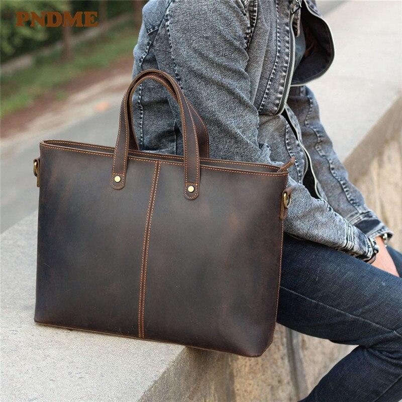 PNDME Simple Vintage Genuine Leather Men's Large Capacity Briefcase Crazy Horse Cowhide Handbag Laptop Shoulder Messenger Bags