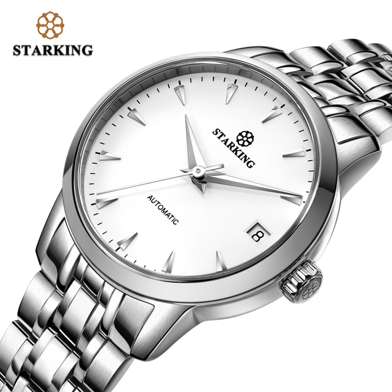 StarKing Women Watch Automatic Stainless Steel Leather White Dial WristWatch Auto Date Ladies Mechanical Relogio Feminino