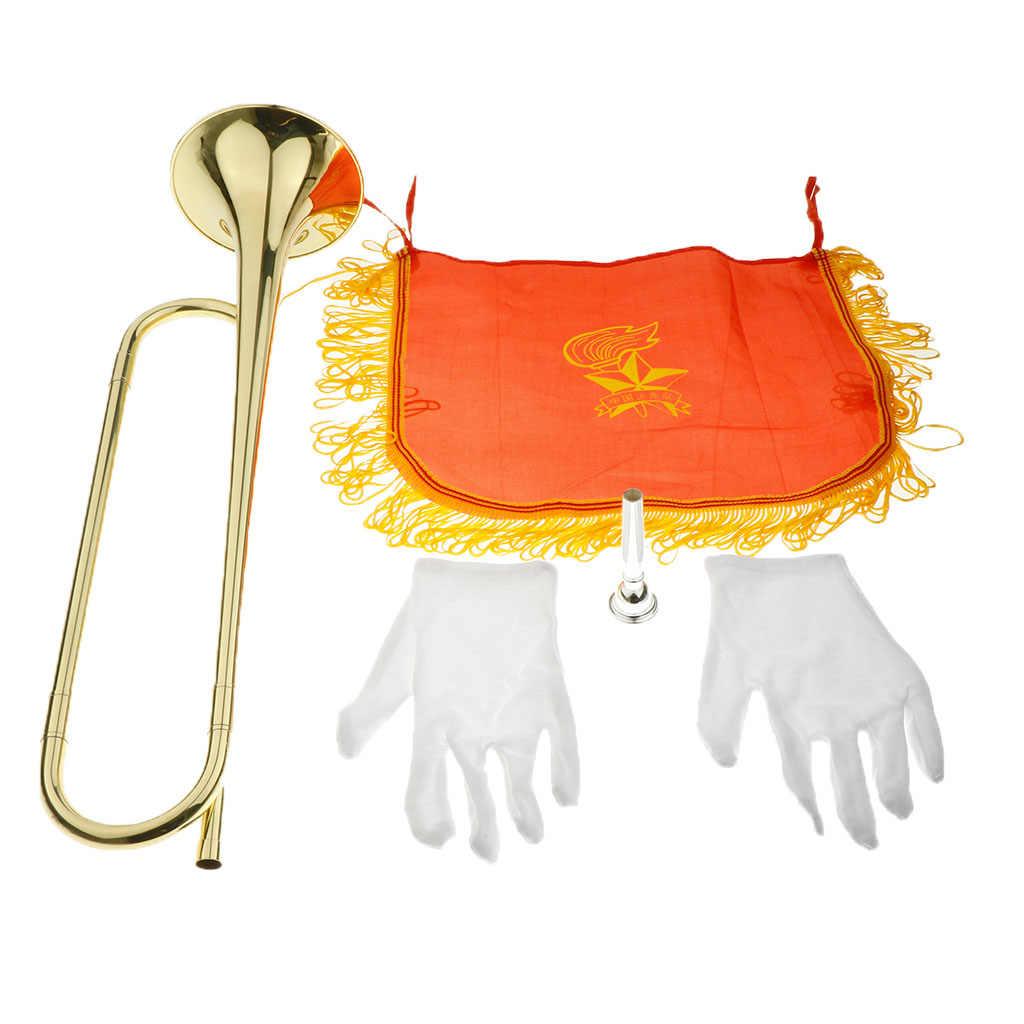 Marching Terompet Kavaleri Terompet dengan Berlapis Perak 7C Mouthpiece Sarung Tangan Set