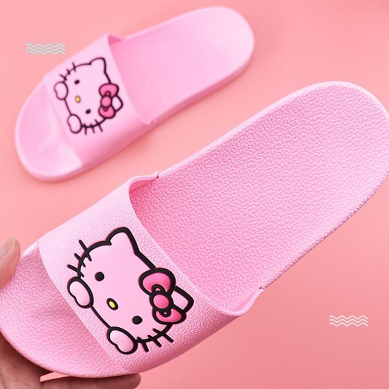 Summer Woman Hello Kitty Cartoon Cute Animal Slippers Indoor Slippers, Soft And Comfortable Household Slippers Sandals Torque