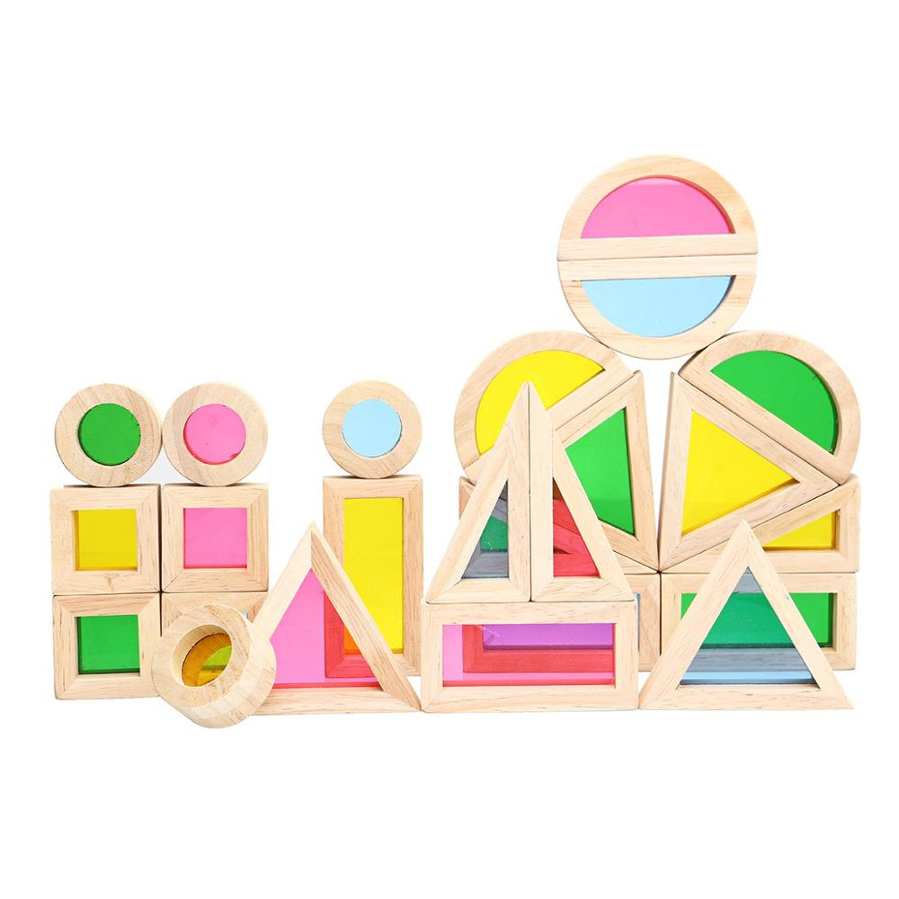 Wooden Blocks Construction Building Toy Stacking Rainbow Blocks Colorful Cognitive Toys Montessori Kids Gifts 24Pcs/Set