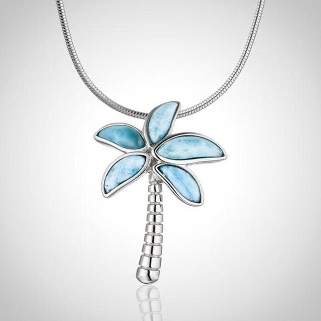 High Quality 100% 925 Sterling Silver Larimar Coconut tree pendant Necklace Party Jewelry for Women
