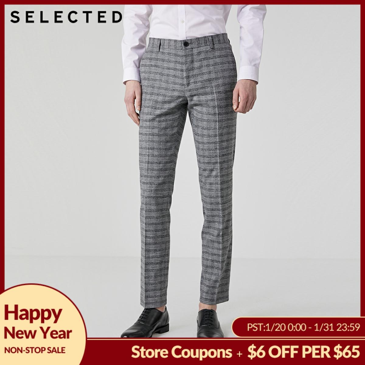 SELECTED Men's Summer Slim Straight Fit Plaid Suit Pants T|41926A504