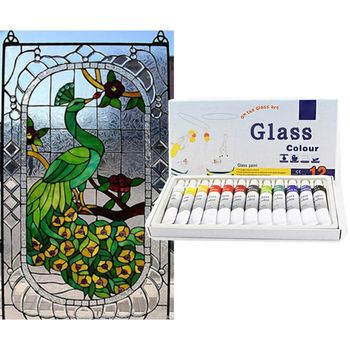 Glass Paint Kit Acrylic Hand Painted Pigments Drawing Tubes Set 12mL 12 Colors Artist Art Supplies For Adult Kids Beginner