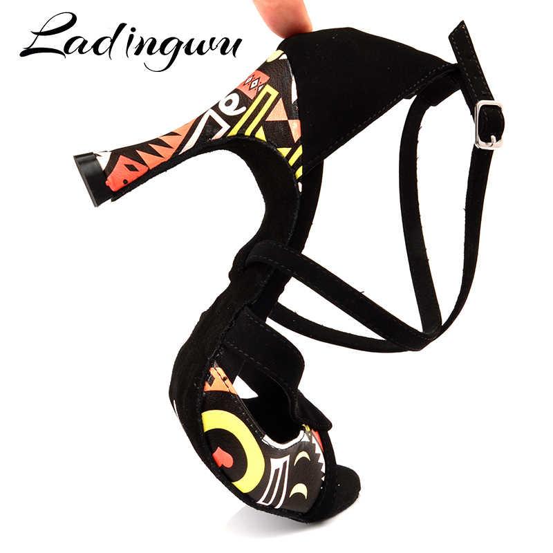 Ladingwu Latin Dance Schuhe Für Frauen Schwarz Flanell und Orange Afrikanische druck Salsa Dance Schuhe frauen Ballsaal Dance Sandalen