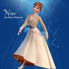 Одежда на год костюмы для девочек, комплект снежной принцессы, рождественское платье для ролевых игр, дня рождения, платье принцессы цвета шампанского для детей от 3 до 12 лет