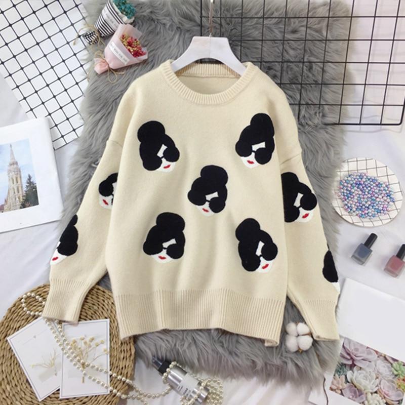 2019 Winter Knitted O-Neck Print Women's Sweaters Cartoon Human Avatar Loose Female Pullovers Fashion Warm School Ladies Sweater