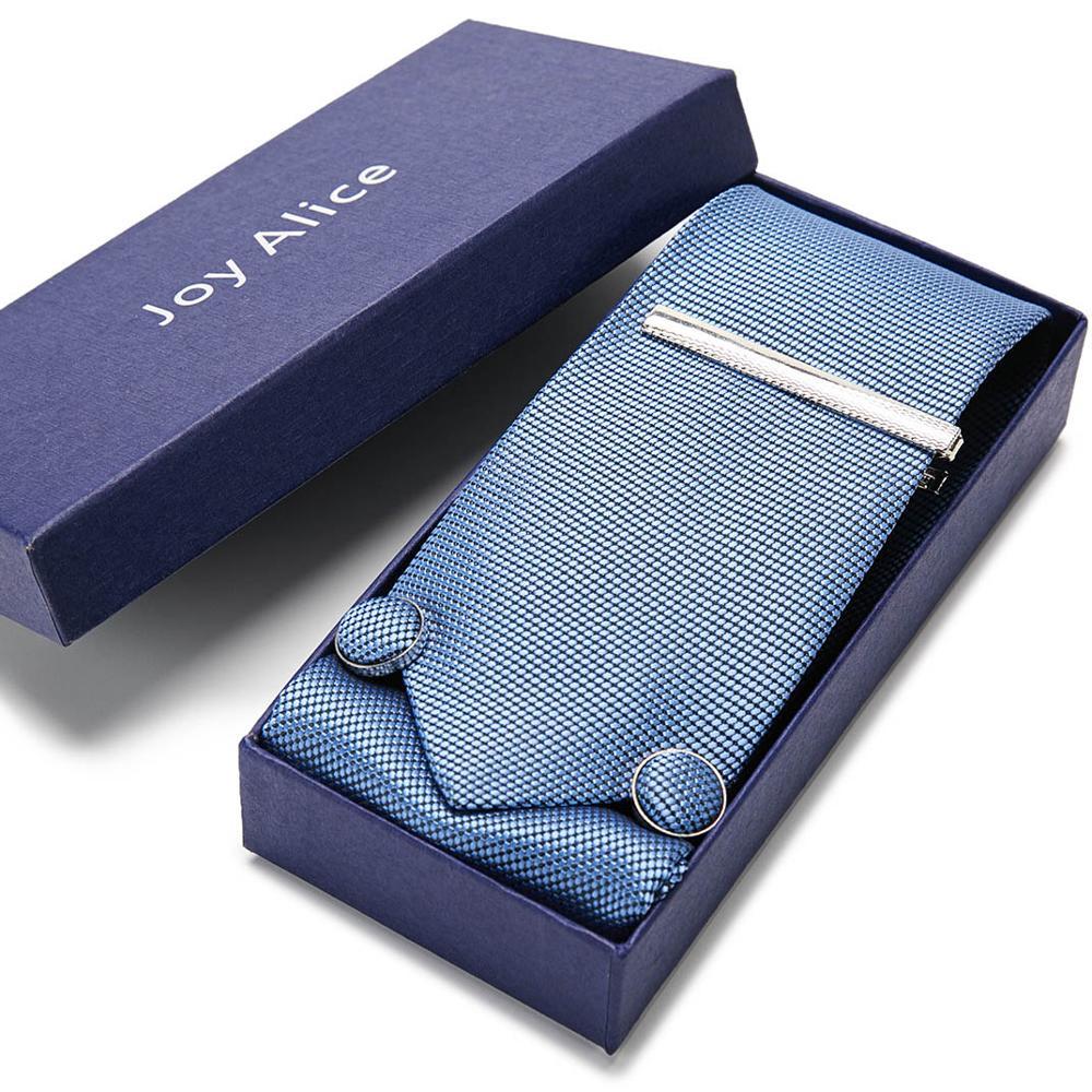 Wedding Mens Tie 7.5cm Silk Navy Blue Stripe Lattice Tie Clip Hanky Cufflinks Tie Sets Formal Dress Wedding Casual Ties For Mens