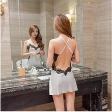 Women Nightgowns Sexy Lace Satin Sleepwear Nightdress Home Wear Summer Sexy Backless Sleep