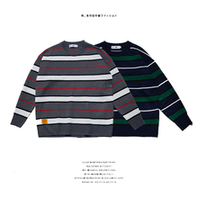 2019 Autumn And Winter Mens New Casual Striped Contrast Color Pattern Round Neck Sweater Loose Temperament Trend Cotton