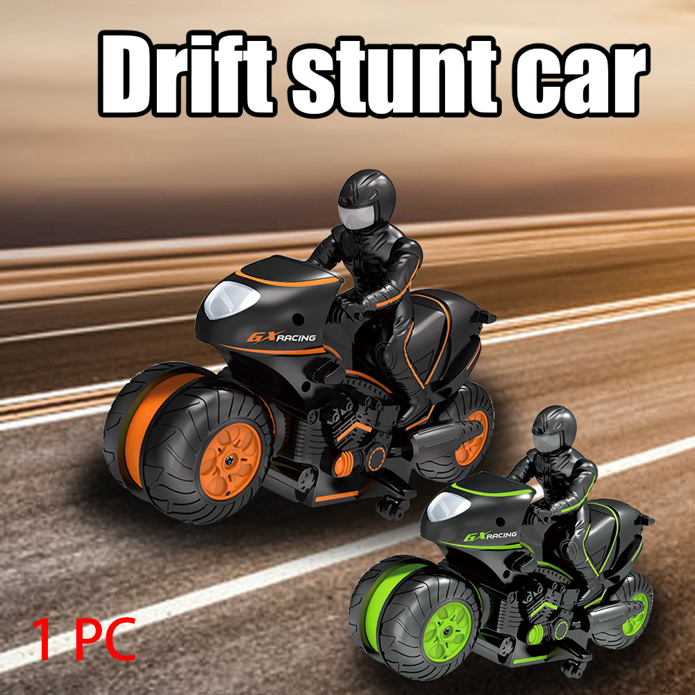 2.4GHz Electric Birthday Gifts With Remote Control Stunt Drift Led Off-Road Wireless Kids Toy 360 Degree Rotation RC Motorcycle