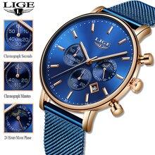 LIGE 2019 Women Fashion Blue Quartz Watch Lady Mesh Watchband High Quality Casua