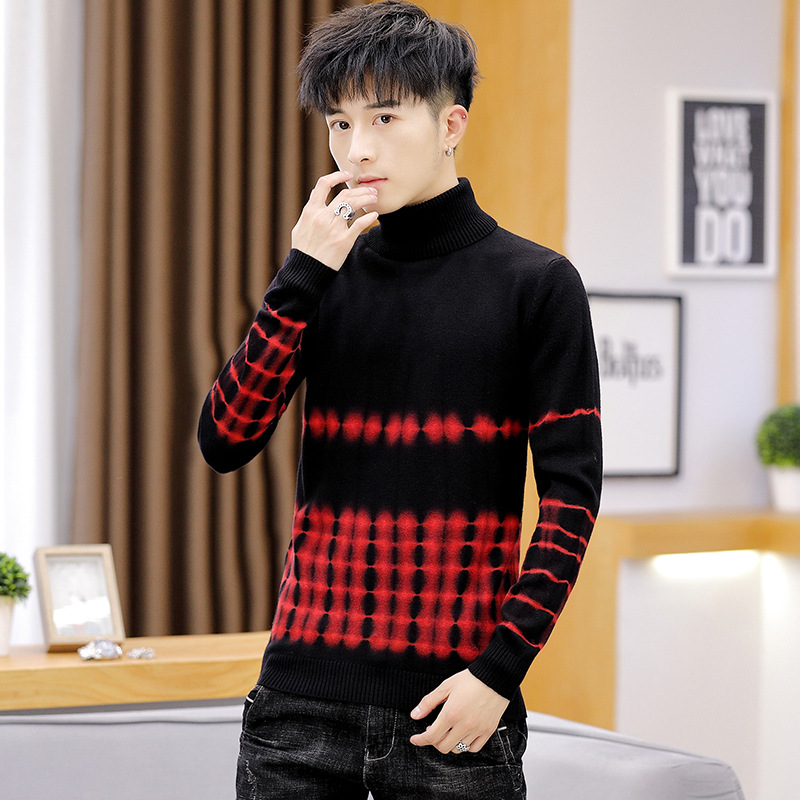 Fashion New Clothing Print High-necked Mens Sweaters Blue Red Yellow Sleeve Long-sleeved Winter Casual Men Sweater Pullovers