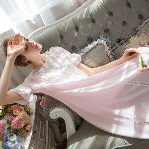 Image 5 - Женское ночное белье Принцесса Спящая юбка с длинным рукавом Кружевное платье французский суд хлопок Ретро Ночная сорочка в викторианском стиле элегантный романтический