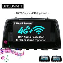 Sinosmart suporte sistema de estacionamento nativo 1g/2g jogador navegação gps do carro para mazda 6 atenza/CX 5 32eq dsp processador 4g opcional